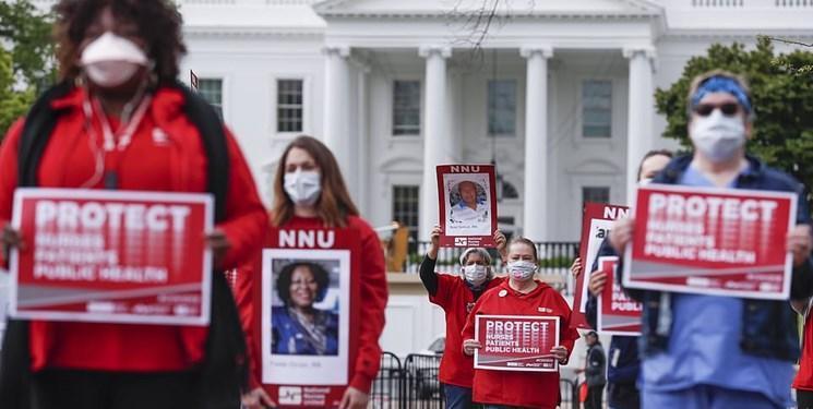 تصاویر، پرستاران آمریکایی در اعتراض به ناتوانی ترامپ در مبارزه با کرونا تجمع کردند